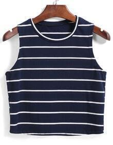 Round Neck Striped Slim Tank Top