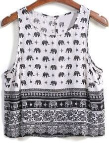 Elephant Print Crop Tank Top