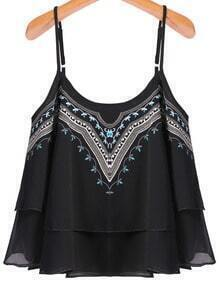 Spaghetti Strap Embroidered Black Cami Top