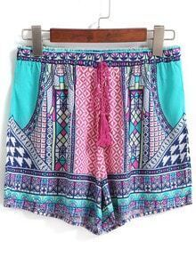 Drawstring Tribal Print Green Shorts