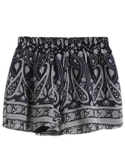 Elastic Waist Tribal Print Shorts