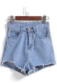 Fringe Slim Denim Shorts