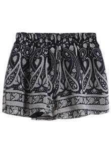 Elastic Waist Tribal Print Shorts