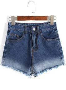 Ombre Fringe Denim Shorts