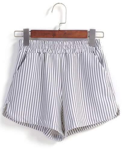 Vertical Striped Split White Short