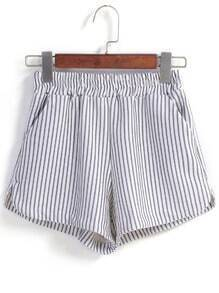 Vertical Striped Split White Short