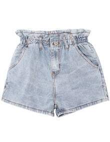Elastic Waist Button Pocket Denim Shorts