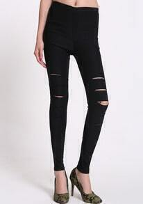 Cut Out Slim Black Pant