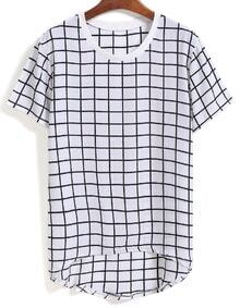 Dip Hem Plaid White T-shirt
