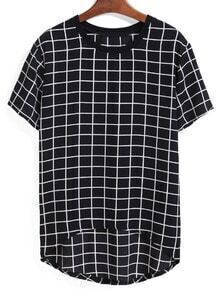 Dip Hem Plaid Black T-shirt