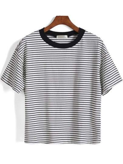 Short Sleeve Striped Loose White T-Shirt