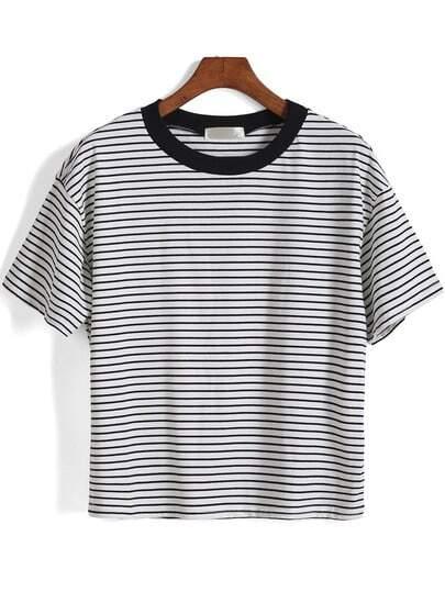 T-Shirt Kurzarm mit Streifen-weiß