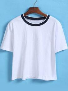Contrast Collar Loose Crop White T-Shirt
