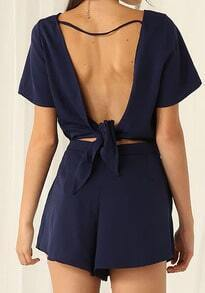 Drawstring Open Back Knotted Navy Jumpsuit