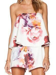 Strapless Florals Ruffle Jumpsuit