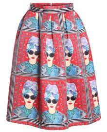 With Zipper Girl Print Pleated Skirt
