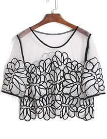 Mesh Embroidered Crop Top