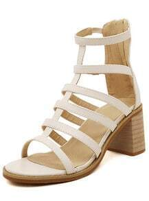 Beige Chunky High Heel Hollow Sandals