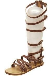 Brown Buckle Low Heel Casual Sandals