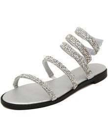 Silver Rhinestone Casual Flats Sandals