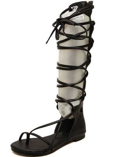 Black Strap Hollow Boot Sandals