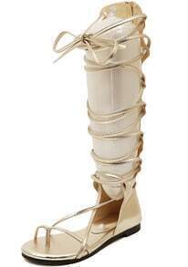 Gold Strap Hollow Boot Sandals