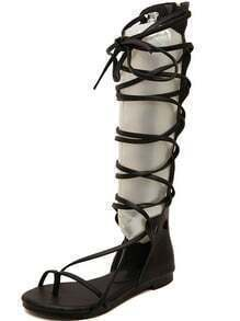 Black Strap Hollow Boot Sandals