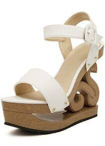 White Buckle Wood Sole Sandals
