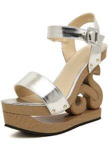 Silver Buckle Wood Sole Sandals