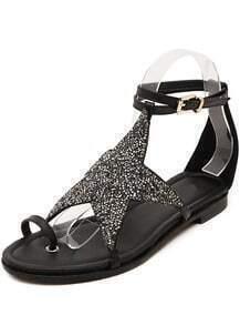 Black Buckle Rhinestone Star Sandals