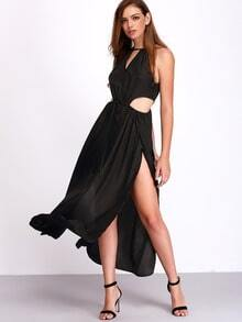 Black Sleeveless Cut Out Split Dress