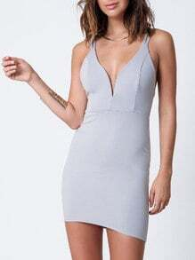 Grey Spaghetti Strap Deep V Neck Bodycon Dress