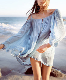 Blue Spaghetti Strap Off The Shoulder Beach Dress