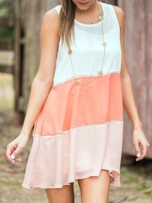 White Pink Sleeveless Color Block Dress
