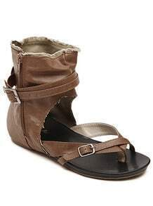 Khaki Buckle Strap Zipper Classic Sandals