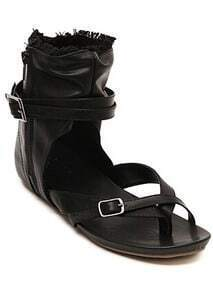 Black Buckle Strap Zipper Classic Sandals
