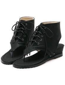 Black Shoelace Flip Wedges Sandals