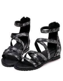 Silver Vintage Cross Strap Sandals