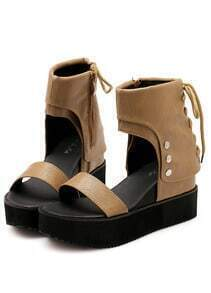 Khaki Bandage Hidden Platform Sandals