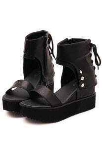 Black Bandage Hidden Platform Sandals