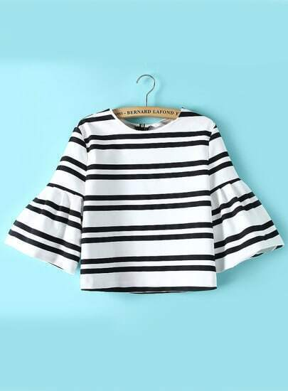 Black White Bell Sleeve Striped Crop Blouse