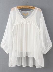 White V Neck Tassel Two Pieces Blouse