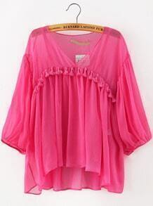 Red V Neck Tassel Two Pieces Blouse