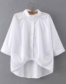 White Stand Collar Dip Hem Loose Blouse