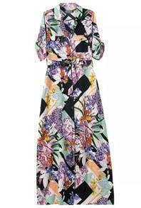 Multicolor Lapel Floral Pockets Shirt Dress