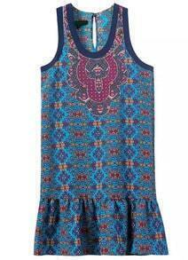 Blue Scoop Neck Sleeveless Floral Ruffle Dress