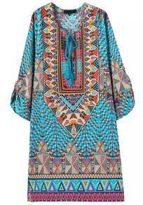 Blue Tie-neck Vintage Geometric Print Dress
