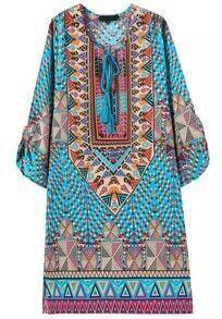 Blue Tie-neck Vintage Geometric Print Dress