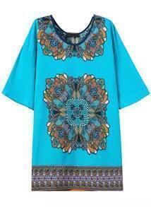 Blue Round Neck Vintage Floral Straight Dress