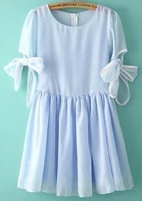 Blue Bow Sleeve Pleated Chiffon Dress